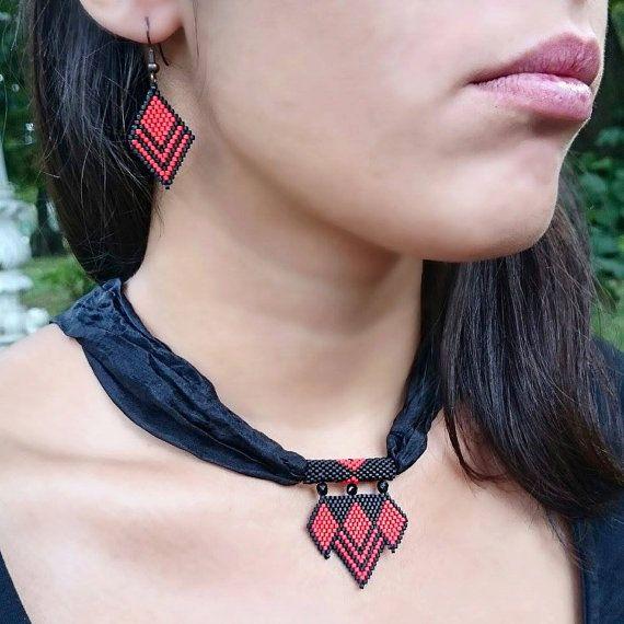 VENTE de Noël, Miyuki collier Miyuki fait main Set collier géométriques Triangle perles Collier perles cadeaux collier Valentin