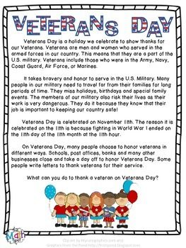 Free Download - A one page summary of Veterans Day and why we celebrate the holiday. Appropriate for use in an elementary classroom.