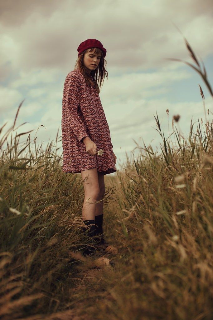 Liisa Riski AW 2016 Raccoon Wave Bow Neck Dress in col. blush spotted in lovely editorial in Atlas Magazine. Photos by Richy Leeson,  Model: Jade McSorley @ Established, Styling: Danielle Goodman and MUA: Oonah Anderson