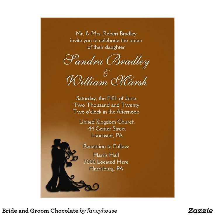 brown card for wedding invites%0A Bride and Groom Chocolate    x     Paper Invitation Card