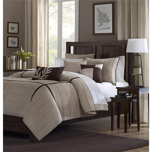 dune beige sevenpiece california king comforter set - California King Bedding Sets