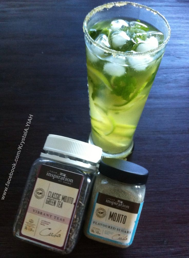 Such a great way to cool down on a hot day Mojito Green Tea Infusion Ingredients: YIAH Mojito Green Tea Fresh mint leave fresh lime slices YIAH Mojito Sugar Mineral water or Sparkling water Serving suggestion: Use soda water and add a shot of white rum for A Mojito Green Tea cocktail