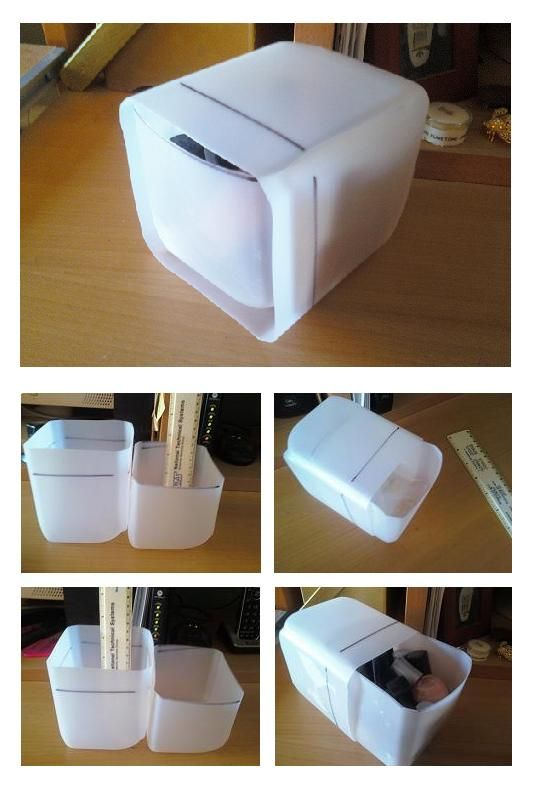 Repurposing: Plastic Milk Cartons.  Cut milk cartons so one fits into another. Use for anything you need quick sort and organize and stack.