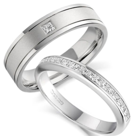 bands rings matching and mm hers couple wedding his platinum anniversary set