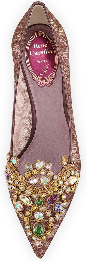 RENE CAOVILLA Embroidered Crystal Lace Pump, Purple