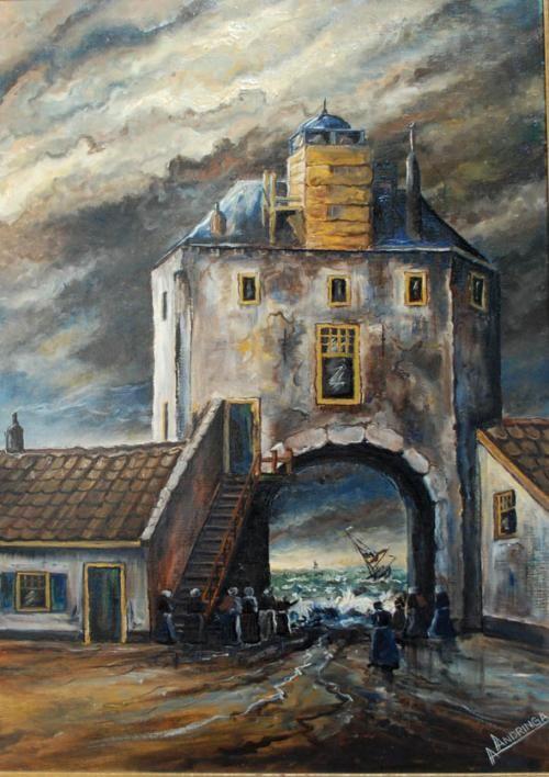 Stormvloed 1916 13 op 14 januari - Vispoort van Harderwijk olieverf