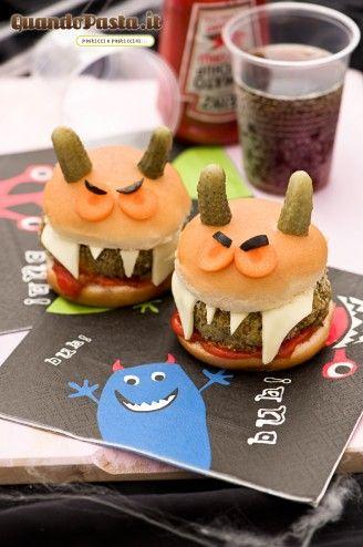 Hamburger vegetariani di Halloween