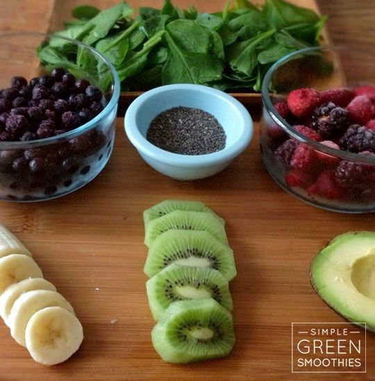 healthy vegetable smoothie recipes 1 kiwi 1 banana 1/2 avocado 1 cup frozen blueberries 1 cup frozen mixed berries 2 cups spinach 2 tbsp chia seeds 2 cups water