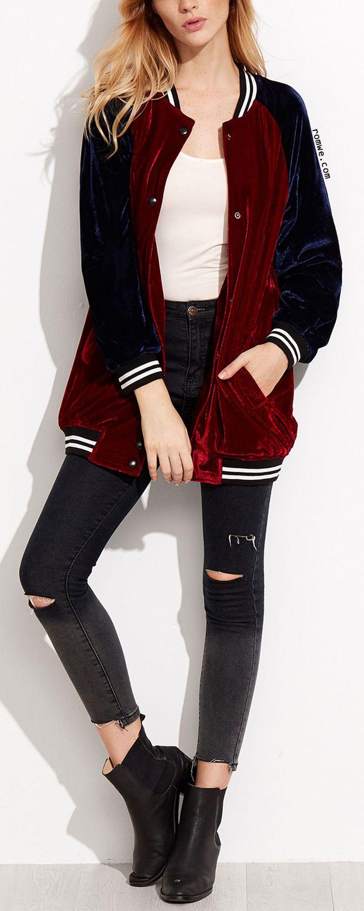Burgundy Contrast Raglan Sleeve Velvet Bomber Jacket