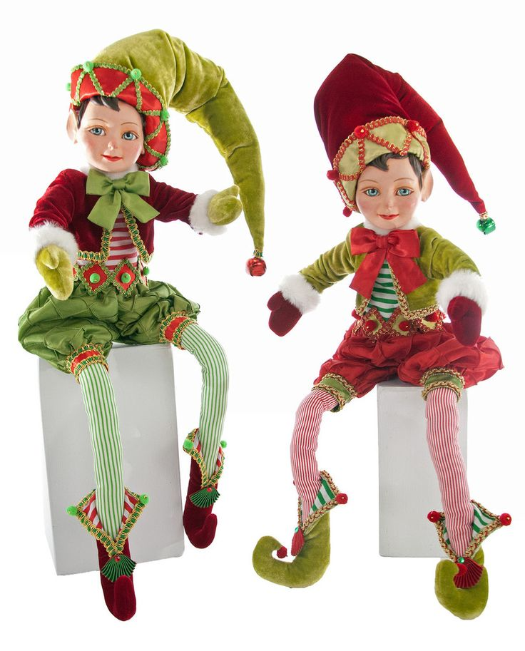 "Katherine's Collection Noel Christmas Collection Set Two Assorted 27"" Noel Poseable Christmas Elves Free Ship"