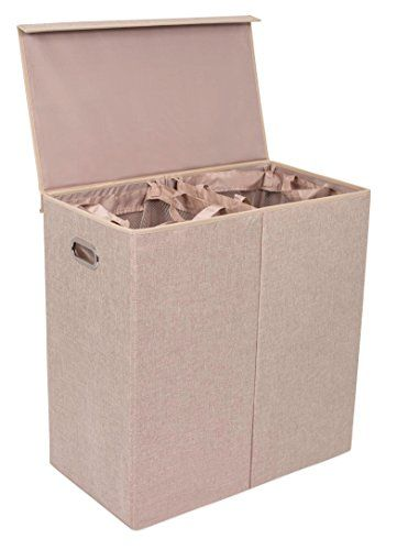 BirdRock Home Double Laundry Hamper with Lid and Removabl...