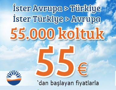 #Ucakbileti #Ucuzucakbileti - #Kampanyalar, #SunExpress - Türkiye- Avrupa -Türkiye SunExpress İle 55 Euro - http://www.alobilet.com/kampanyalar/turkiye-avrupa-turkiye-sunexpress-ile-55-euro - 27 Ekim 2014 tarihine kadar yapılan biletlemelerde Türkiye – Avrupa – Türkiye karşılıklı yurtdışı seferleri 55.000 koltuk için 55 €.  Kurallar; Seçili yurtdışı hatlarında geçerlidir. Fiyata ek hizmet bedeli eklenir. Başka kampanya ile birleştirilemez. İ
