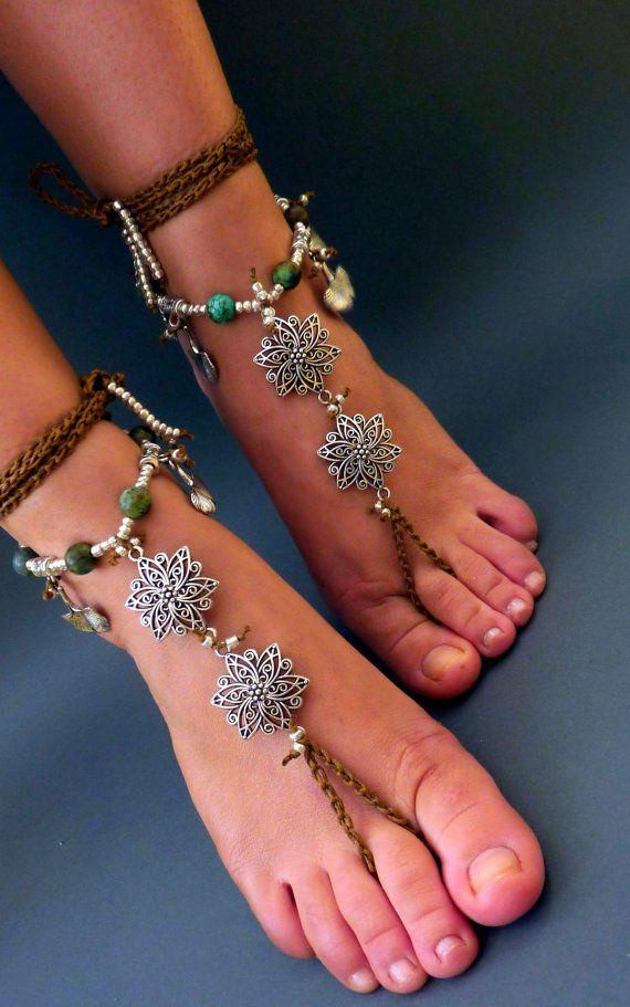 Barefoot Sandals Barefoot Beach Jewelry gemstones Hippie ...