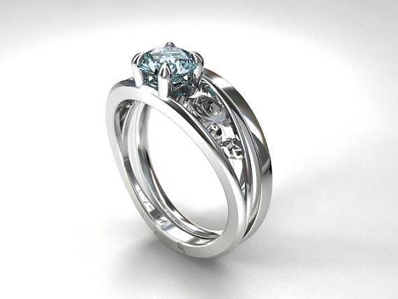 Celui Engagement Ring Set with Aquamarine