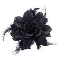Wish | Flower and Feather Hair Flower Pin Brooch for Women - Black (Color: Black)