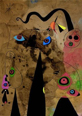 """"""" Joán Miró (1893-1983) Le serpent à coquelicots traînant sur un champ de violettes peuplé par des lézards en deuil, 1947 """""""