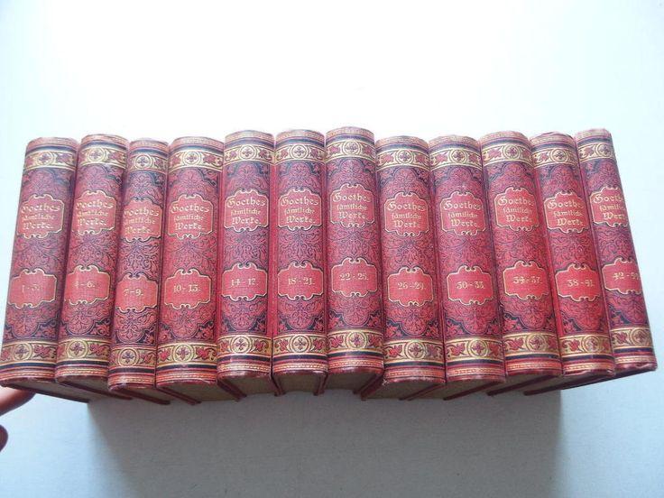 12 Bde. kompl. Goethes sämtliche Werke Dekorativ. Schöne Rücken ca. 1900