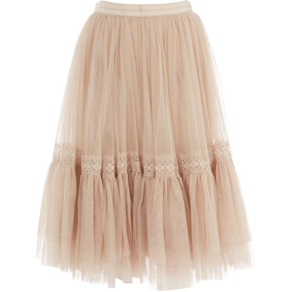 Needle and Thread Cream Lace Tulle Midi Skirt (300 AUD) ❤ liked on Polyvore featuring skirts, bottoms, beige lace skirt, knee length tulle skirt, ballet skirt, tulle midi skirt and ruffle skirt
