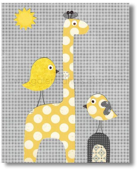 Art for Children nursery decor - baby nursery print - kids art - kids room decor - birds - giraffe - Sunkissed print from Paris