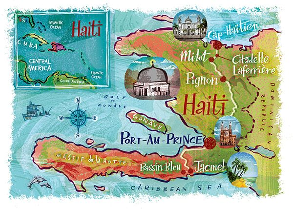 Nigel Owen - An illustrated map of Haiti produced for the UK edition of 'Traveller' magazine (National Geographic)