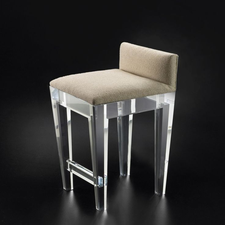 Metal Bar Stool And Brown Linen Seat With Backrest For Using Transparant Acrylic Frame Base Also Folding Bar Stool, Awesome Acrylic Bar Stools For Kitchen And Bar Furniture Decorating: Furniture, Kitchen