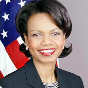 Condoleeza Rice. Rice was the first female African-American secretary of state, as well as the second African American (after Colin Powell), and the second woman (after Madeleine Albright). Rice was President Bush's National Security Advisor during his first term, making her the first woman to serve in that position. Before joining the Bush administration, she was a professor of political science at Stanford University where she served as Provost from 1993 to 1999.