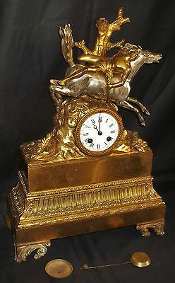 Large french gilt bronze #clock with #silvered #horse & rider figure by japy frè,  View more on the LINK: 	http://www.zeppy.io/product/gb/2/291778324186/