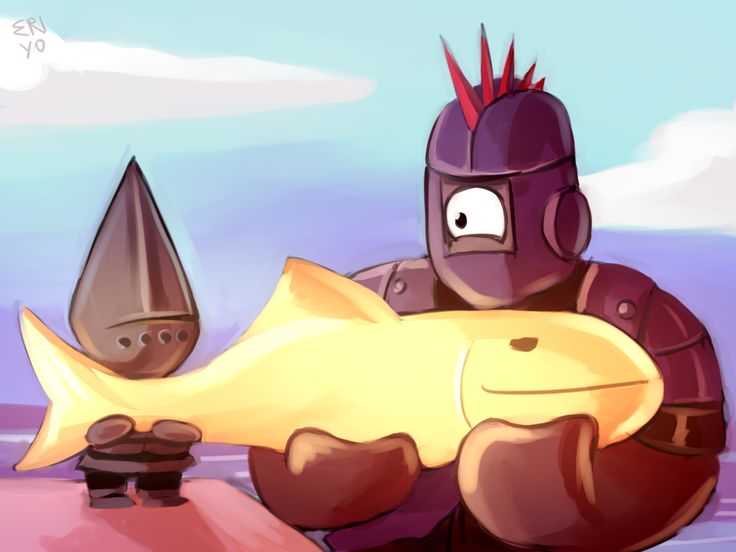 I decided to draw my OTP from Castle Crashers. Redraw photos from the hall of the Cyclops.