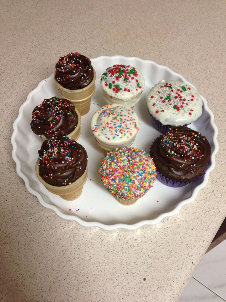 Cupcake cones. Cupcakes in an ice cream cone. Thee are fabulous for kids parties. Unique and they love it.