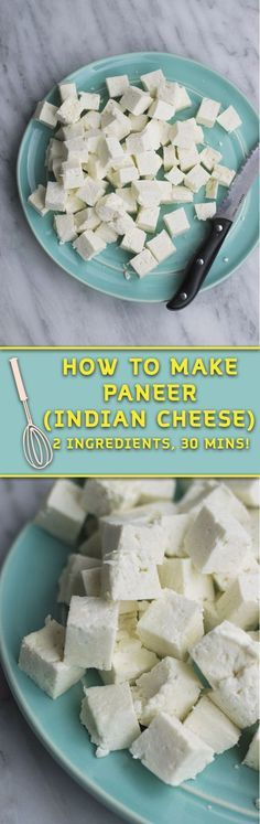 how to make paneer - just 2 ingredients & 30 mins is all you need to make paneer at home! So many delicious ways to eat this cheese & it's way cheaper to make at home! Store in freezer for upto 4 months!