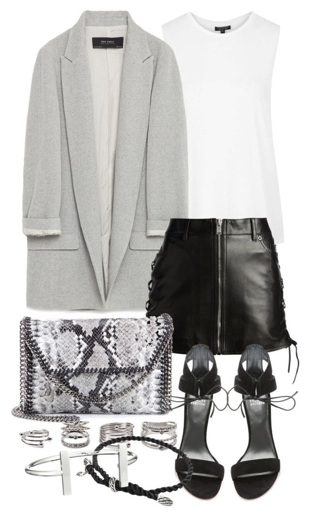 """""""Untitled #19670"""" by florencia95 ❤ liked on Polyvore featuring Topshop, Zara, Yves Saint Laurent, STELLA McCARTNEY, Stuart Weitzman, Forever 21, David Yurman and French Connection"""
