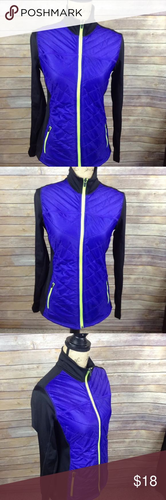 "Old Navy Active purple black athletic jacket Pre-owned Old Navy Active women's size small purple and black athletic fitness jacket. Excellent used condition. No rips holes or stains. 100% polyester. Looks blue in the pictures but it is definitely purple. Two front zipper pockets. Super cute!  Measurements: Armpit to armpit- 18"" Armpit to sleeve- 22"" Length- 26""  I ship fast! Pay before 4:30pm Monday thru Friday and I will ship the same day! Thank you for looking! Check out my other items…"