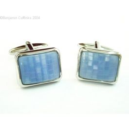 The Mastermind Cufflinks - Beautiful blue stone design using a rhodium plated cufflinks and border. Very stylish and looks great on a white shirt