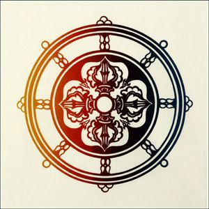 Dharma Wheel  The Dharma Chakra is the Symbol of Universal and Spiritual Law. Its spokes represent the Noble Eight-Fold Path. In the center is a Double Dorje, the adamantine symbol of sovereign power and indestructible mind.