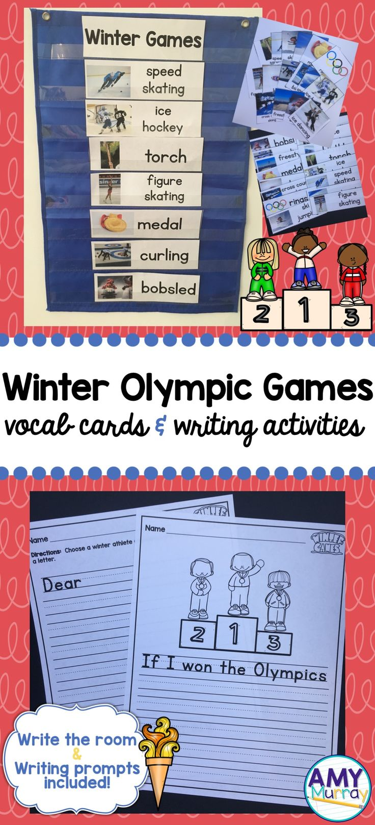 Winter Olympics 2018 - vocab/word wall cards with real photographs, write the room activities, and writing prompts for young learners!