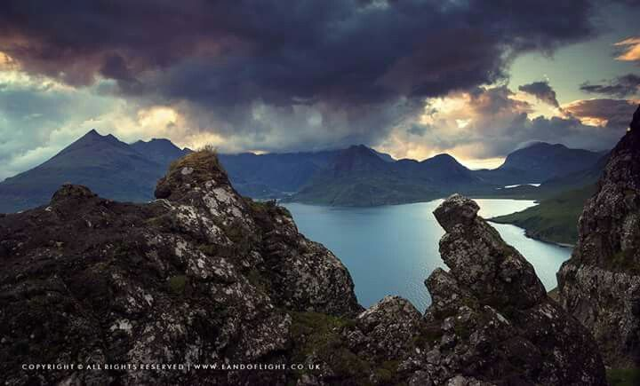 Loch Scavaig and surrounding mountains in evening,  Isle of Skye, Scotland
