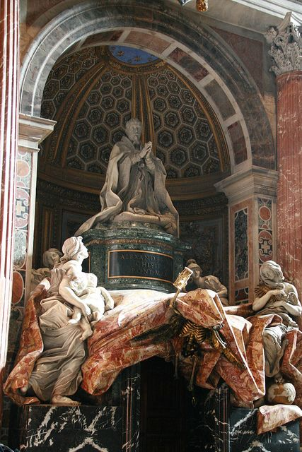 One of the many statues within the Basilica. This one had an interesting golden skeleton under the cloak, Rome, Italy