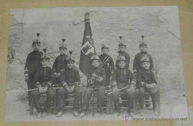 ANTIGUA FOTOGRAFIA ALBUMINA DE NIÑOS CADETES CON TRAJE MILITAR ALFONSO XIII - EN OCAÑA (TOLEDO) - EN (Postales - España - Castilla La Mancha Antigua (hasta 1939) - Toledo)