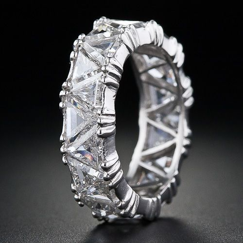 Platinum Triangle Diamond Eternity Band - 110-1-3849 - Lang Antiques