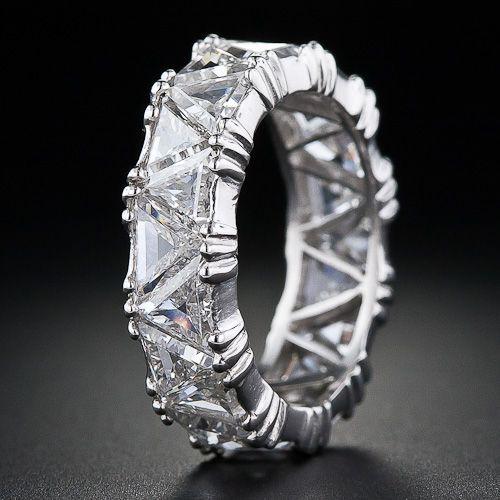 Platinum Triangle Diamond Eternity Band - 110-1-3849 - Lang Antiques