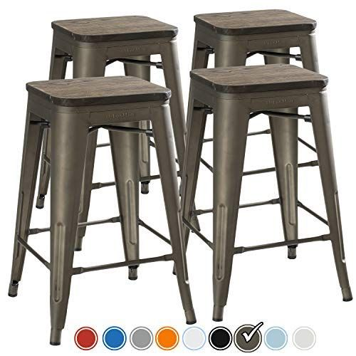 Amazonsmile Urbanmod 24 Inch Bar Stools For Kitchen Counter Height Indoor Outdoor Metal Rustic Gunmetal Wood Metal Bar Stools Bar Stools Metal Bar