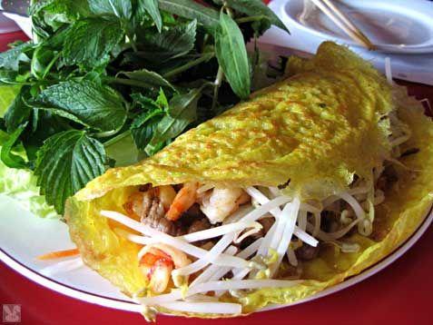 Banh Xeo - crêpes vietnamienne Surtout faire les  crêpes avec de la farine de riz !