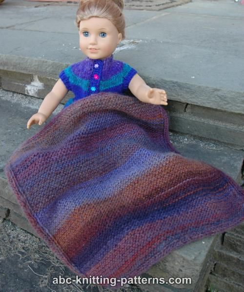 ABC Knitting Patterns - Easy Garter Stitch Blanket with Applied I-cord for a Doll