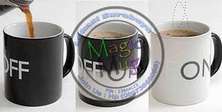 Mug On OFF bermotif tulisan ON dan OFF    Mug ini akan berubah bila di isi air panas.    Before :   Mug berwarna hitam dan bertulis OFF     After :  Mug berwarna putih dan berubah bertulis ON.       Mug akan kembali bermotif hitam (before) kalau air panas menjadi dingin (normal) sekitar 15-25 menit.   mugunik.weebly.com