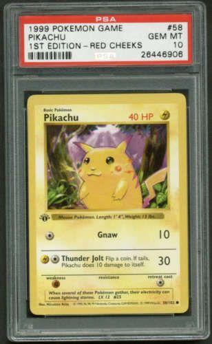 1999 Pokemon 1st First Edition Base Red Cheeks Pikachu PSA 10 Gem Mint #58