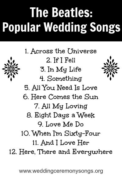 The Beatles: Popular Wedding Songs. #weddingmusic
