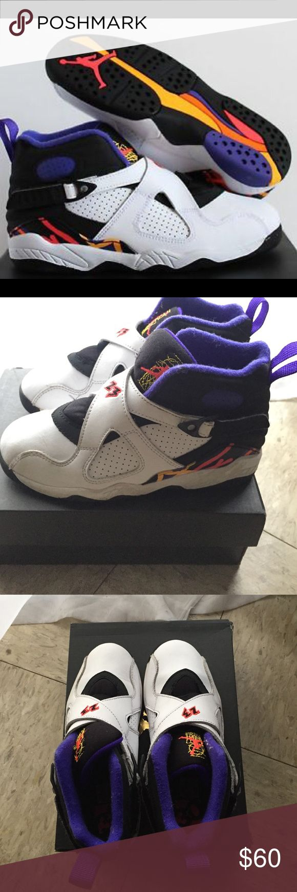 Nike Air Jordan Retro 8 kids size 13 In great condition. Kids size 13 jordan retro 8s white purple black orange and yellow. Can be for boys or girls Jordan Shoes Sneakers