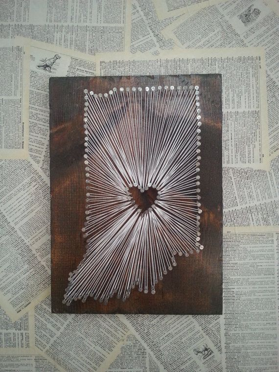 Indiana State String Art State Nail Art Rustic by witheyesunlocked