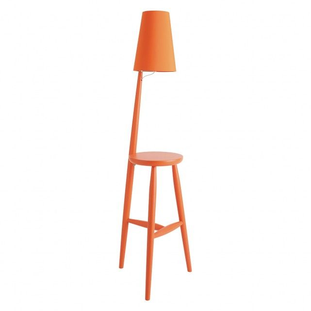 The versatile Wallace orange wooden floor lamp and table with orange shade is an original, solid-wood design that adds colour and character to a room.[br]Designed in house and exclusive to Habitat, the Wallace floor lamp is made from solid wood and its compact footprint makes it perfect for use by the bedside as well as a sofa or armchair.[br]The lamp has a switch on its neck for ease of use and Wallace floor lamps in solid oak and walnut-stained oak are also available.