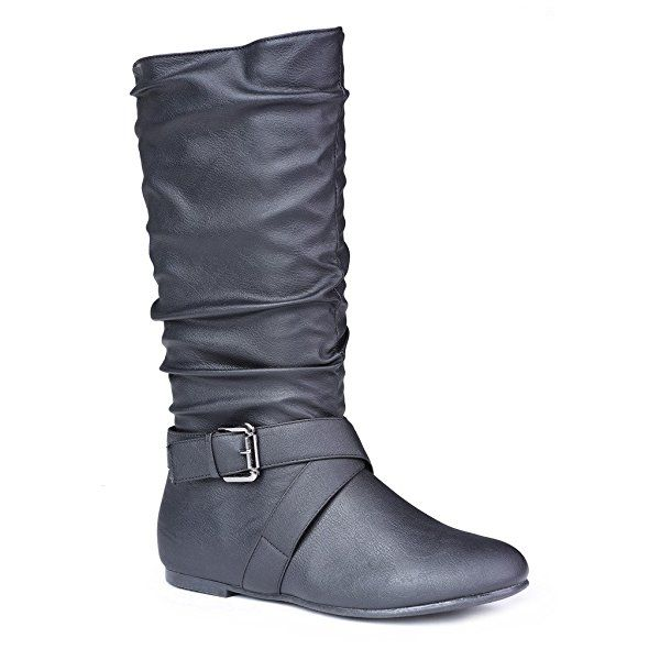 Twisted Women's Shelly Faux Leather Mid-Calf Scrunch Boot with Side Buckle - BLACK, Size 10